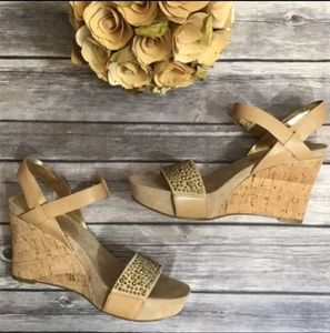 Nine West Leather Golden Tan Studded Wedge Sandals